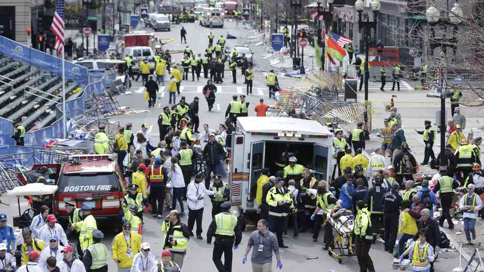 Wide view of site of Boston Explosion