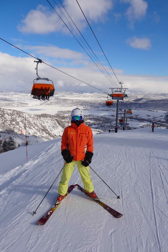 My wife is an expert skier, here by Orange Bubble Express Chair