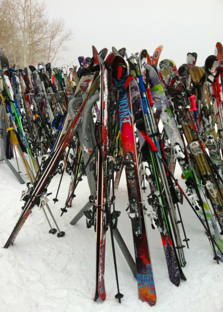 Skis piled up at lunchtime at Canyons Resort